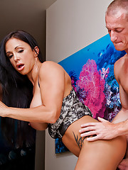 horny Jewels Jade takes care of her neighbor by riding his hard dick and swallowing his cock.