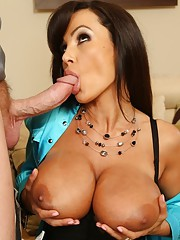 Busty Lisa Ann uses her tits and has hot sex with her boyfriends friend.