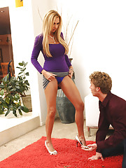 Brooke Tyler literally fucks away the door to door salesman.