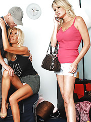 2 hot MILFs have threesome with one lucky guy.