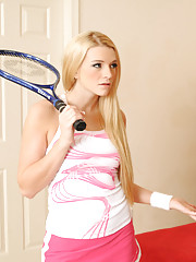Hot blonde babe calls her tennis guy and then decides to fuck her friends brother.