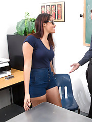 Aria Arial fucks her teacher on his desk and has loud orgasms in the classroom.