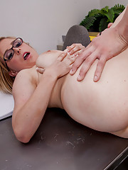 Hot blonde girl has sex at her school with big cocked stud.