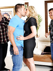 Julia Ann saves one guy from his friends and then decides to fuck his cock.