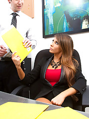 Gorgeous busty Madison Ivy decides to fuck a co worker on her desk before she is done for the day.