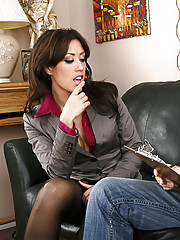 Sexy brunette in stockings fucks a married man