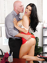 Gorgeous Romi Rain has hot sex with a co worker and she loves his thick cock in her tight pussy.