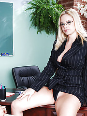 Cameron Keys punishes her student and then fucks him on her desk.