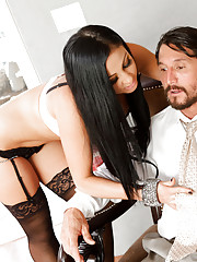 Cheating husband fucks sexy Audrey Bitoni from behind doggystyle