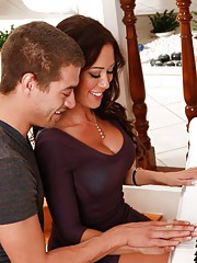 Sexy brunette Capri Cavanni has hot sex with her boyfriends son.