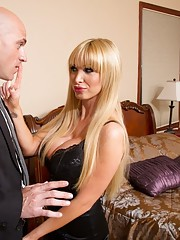 Sexy blonde babe Nikki Benz fucks her boyfriends son big cock and loves riding it.