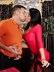 Gorgeous babe Romi Rain is horny and decides to fuck her boyfriends son and his big cock.