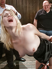 Pain slut takes in the ass, pussy and face- all while being tormented with electrical implements. The ideal sub disgraced in public.