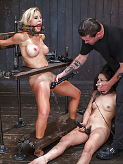 Hardcore bondage, squirting orgasms, extreme torment, bastinado, electrical punishment, sensory deprivation, pussy fucking, pussy licking