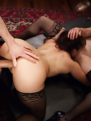 Two gorgeous submissive sluts in big cock threesome