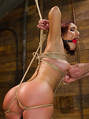 Petite Liv Aguilera ass tied up, pussy fucked and vibrated, brutal sideways suspension, strict doggie style bondage fuck