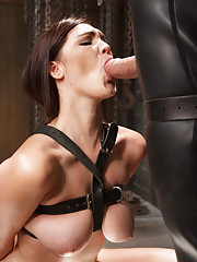 When Holly Michaels trains to be a slave, her big beautiful natural tits are clamped and tied, hard cowgirl fucking in her tight pussy, deep throat gi