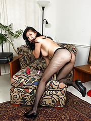 Seductive sales woman makes her hairy pussy cum by fucking a dildo