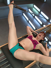 Spread eagle, pilates stretching machine fucking with custom sexercise machines. Total body work out including her pussy & ASS!