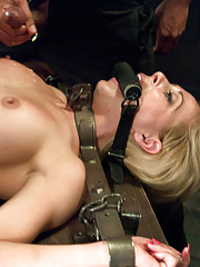 Workout girl taken down and rough sex in bondage.