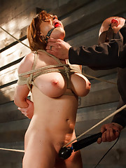 Big tits tied to the ground, suspended in the air, and put on a crotch rope with brutal orgasms.