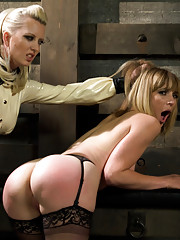 Hot dominatrix gets spanked hard and strap-on ass fucked by sexy lezdom!