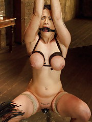 All natural big tits double H tied tight and fucked doggie style, bound tight in painful predicament bondage
