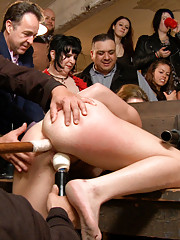 Moo! Midwestern whore bent over in stocks and fucked by Mr. Pete. Ass pounding, cattle prod, humiliation.