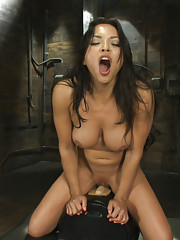 Machine Fucked to a sweaty, cum-space mess - her tight all natural tanned body clenching & cumming with every thrust of the MACHINE COCK!
