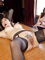 Porn Star Gaia Fucked in the Ass and begs to come while masochistic slut Penny Barber is beaten for her shortcomings